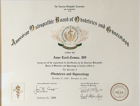 certificate from American Osteopathic Board of Obstetrics and Gynocology
