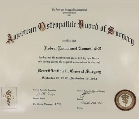generalsurgery certificate
