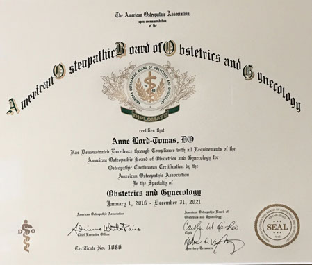 obstetrics and gynecology certificate