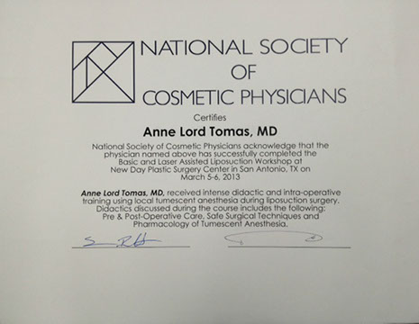 certificate from National Society of Cosmetic Physicians