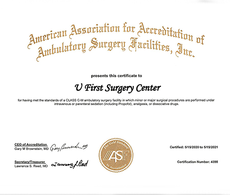Surgery Certificate for U First Surgery Center